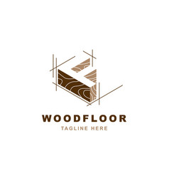 Wood logo with letter f shape vector