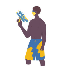 young african guy with water gun in protective vector image