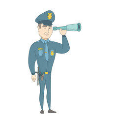 young policeman monitoring safety with a spyglass vector image