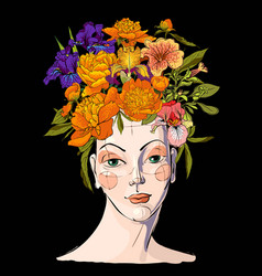 spring woman with flowers her hair vector image