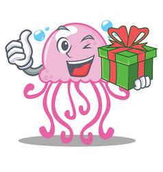 with gift cute jellyfish character cartoon vector image