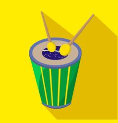 brazilian drum cartoon flat icon brazil vector image