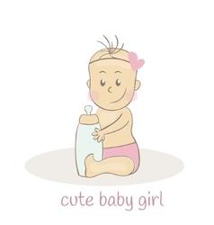 Cute little baby girl Newborn baby icon vector image vector image