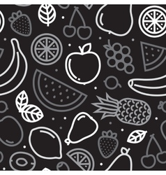 Greyscale fruits seamless pattern vector image vector image