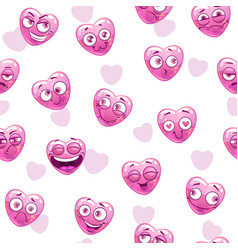 seamless pattern with funny pink hearts vector image