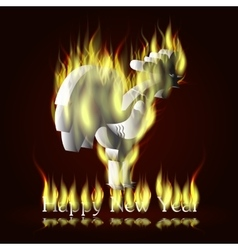 Silver fiery rooster vector image