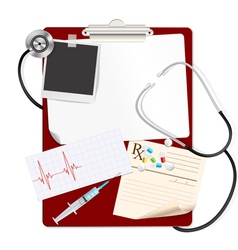 stethoscope on medical clipboard vector image vector image