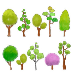 trees colored doodle vector image vector image