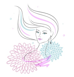 woman back floral vector image vector image