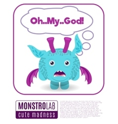 a monster saying omg vector image