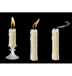Candles on black background vector image vector image