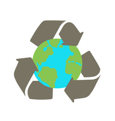 recycle sign and earth vector image