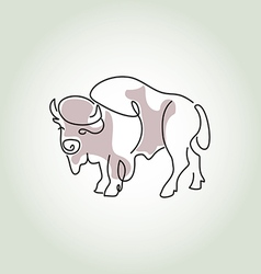 Bison in minimal line style vector image
