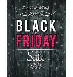 Black friday sale banner on wooden background vector