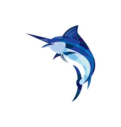 Blue Marlin Fish Jumping Low Polygon vector image