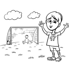 boy playing soccer coloring page vector image