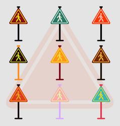 collection of crosswalk traffic signsman walking vector image vector image