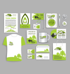 corporate identity set ecology company templates vector image