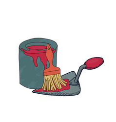 putty knife paint can and brush vector image vector image