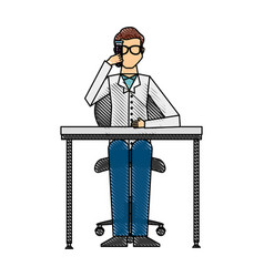 Scientific man in workplace avatar icon vector
