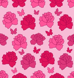 Seamless Texture with flowers Roses and vector image