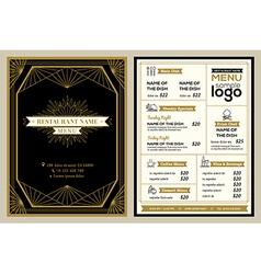 Vintage restaurant or cafe menu cover design vector image