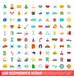 100 economics icons set cartoon style vector