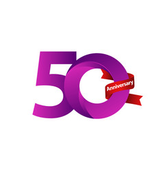 50 years anniversary celebration purple ribbon vector