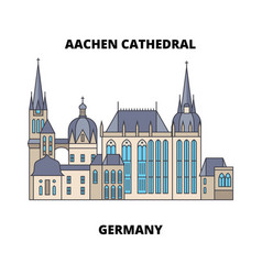 Aachen cathedral germany line icon concept vector
