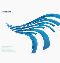 Abstract curved blue technology stripe lines vector