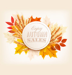 Autumn sales banner with colorful leaves and vector
