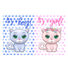 baby shower greeting card with cute kittens boy vector image
