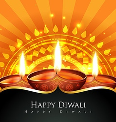 Beautiful background of diwali diya vector