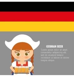Beer Oktoberfest flag girl cartoon costume icon vector