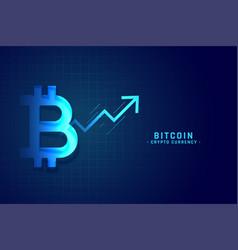 bitcoin growth chart with upward arrow design vector image