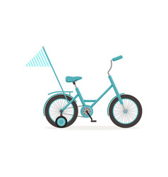 Blue bike with training wheels and flag kids vector