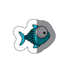 Blue happy fish scalescartoon icon vector
