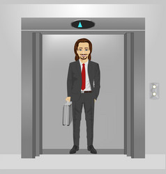 businessman with briefcase standing in an elevator vector image