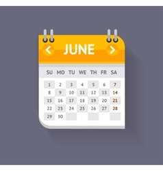 Calendar June Flat Design vector image