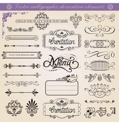 calligraphic decoration elements set vector image