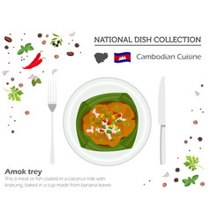 cambodian cuisine asian national dish collection vector image