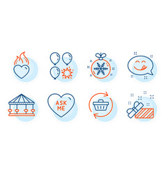 Carousels balloon dart and present icons set vector
