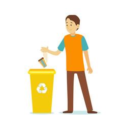 cartoon character person man throwing trash vector image