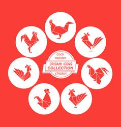 cartoon cock icon set vector image
