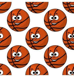 Cartoon smiling basketball seamless pattern vector