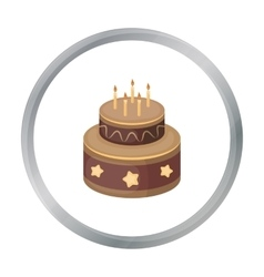 Chocolate cake with stars icon in cartoon style vector