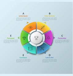 circular chart divided into 6 bright colored parts vector image