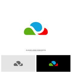 colorful cloud logo design concept cloud paint vector image