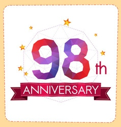 Colorful polygonal anniversary logo 2 098 vector