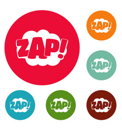 Comic boom zap icons circle set vector
